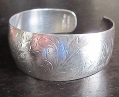 Vintage Sterling Silver Braclet Cuff intricate design by MagpieSue, $17.50