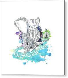 Elephant Mandala - Reproductions - Acrylic / 48 x 48 / Hanging Wire