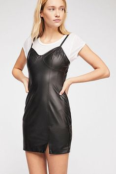 Free People Say No More Faux Leather Slip Dress in Black is fun, sassy fashion. Enjoy shopping our carefully edited selection. Free People Clothing, Free People Dress, Bb Style, Urban Chic Fashion, Leather Slip Ons, Latest Trends, Casual, Black, Cami