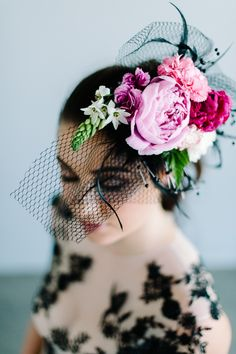 Unique birdcage veil with flowers | Debbie Lourens | see more on: http://burnettsboards.com/2016/02/coco-chanel-inspired-shoot/