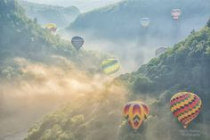 2018 Red, White, & Blue Balloon Festival - balloons in the gorge and dawn, courtesy Dick Thomas Photography.