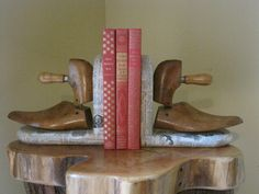 Vintage Antique Recycled Bookends Cobbler Shoe Forms with Antique Dictionary pages. $81.00, via Etsy.
