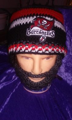 TAMPA BAY BUCCANEERS Bearded Beanie,Embroidered Nfl Buccaneers Patch,Velcro 4PerfectFit,Great Gift idea,Customize Any Size Any Color by DWedgeCreations on Etsy
