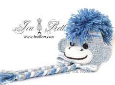 Handmade Crocheted  Grey Sock Monkey Hat with Blue Mohawk For Kids