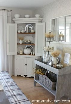 Hymns and Verses: Country Farmhouse Cabinet And Rustic Fall Vignette