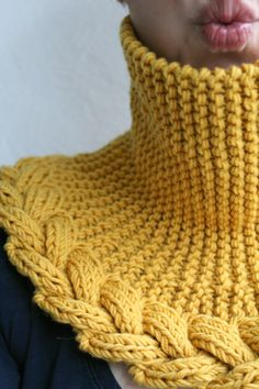 "truebluemeandyou: "" DIY Knit Neckwarmer Free Pattern from DROPS on Ravelry. This yellow version was made by knittintin. If you join Ravelry (it's free and no spam), you get to see photos of this.Ravelry: knittintin's Yes, Yellow knit from b - Ros Loom Knitting Patterns, Free Knitting, Knitting Projects, Crochet Projects, Crochet Patterns, Shawl Patterns, Knitted Shawls, Crochet Scarves, Knitting Accessories"