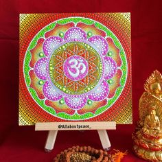 Om sacred geometry floweroflife Mandala painting by Allaboutpeace1