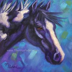 """Black and White Paint Horse by Theresa Paden Oil Paint ~ 8"""" x 8"""""""