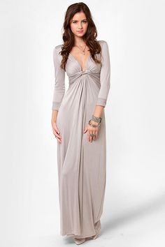 Cute Light Grey Dress - Maxi Dress - Long Sleeve Dress - $40.00 would be cute if it was hemmed to knee length!