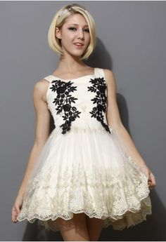 Floral Embroidery Prom Tulle Dress - Dress - Retro, Indie and Unique Fashion