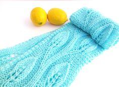 Hand knit lace scarf  lace pattern aqua by SuninVIRGOCreations