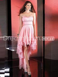 US $149.99 Free Shipping A-line Spaghetti Straps Sleeveless Asymmetrical Chiffon Evening Dress