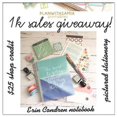 I reached 1000 sales in my Etsy shop recently and I wanted to thank everyone and host a little giveaway.  Goodies you can win: Erin Condren Notebook $25 shop credit and all the pictured stationery.  Rules: 1. Must follow this account  2. Like this post 3. Comment below to enter  4. No giveaway accounts  Open internationally Last day to enter is Friday 2 December. One winner will be chosen and announced on Saturday 3 December.  To qualify you must follow the rules  Due to Etsy policies credit…