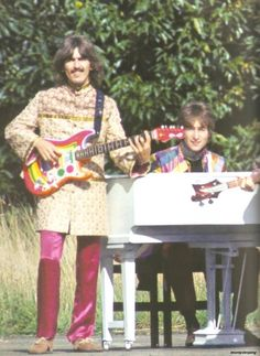 George Harrison playing Rocky with John at the piano during Magical Mystery Tour.