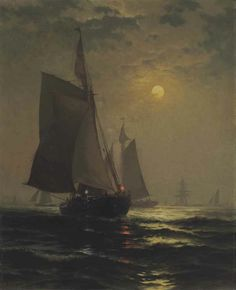 Edward Moran (1829-1901)  Moonlight in New York Harbor  signed 'Edward Moran' (lower left)  oil on canvas  27 x 22 in. (68.6 x 55.9 cm.)  Painted circa 1882.