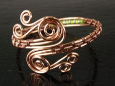 Copper Wire Weave Bracelet with Lime Green & Silver by BonzerBeads, $29.00