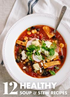 These hearty vegetarian soups, stews and chilis will warm you up on cold days! Enjoy healthy comfort food recipes that will fill you up, too.