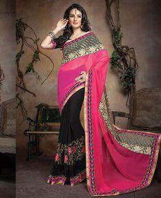 Buy Sightly Pink And Black Designer Sarees online at  https://www.a1designerwear.com/sightly-pink-and-black-designer-sarees  Price: $39.34 USD