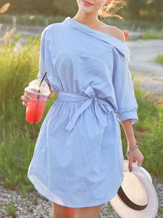Blue, Off Shoulder, Stripe Print, Button Side Bow, Waist Dress, Mini Dress