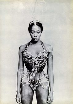 Naomi Campbell, Vogue Italia, May 1997. Corset created by Mr. Pearl