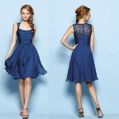 Wholesale Lace Dresses - Buy 2014 Custom-Made New Spring Simple Cheap Royal Blue Scoop Sleeveless Empire A Line Knee-Length Chiffon Bridesmaid Evening Gowns Prom Dresses, $74.46 | DHgate