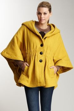 Steve Madden  Hooded Shawl Collar Cape with Cinched Waist