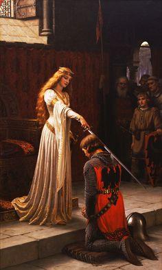 (UK) The Knighting of Sir Lancelot by John William Waterhouse (1849- 1917). Oil on canvas.