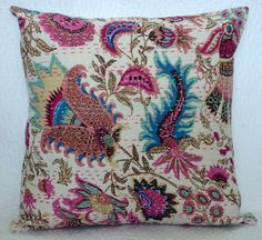 """16"""" KANTHA VINTAGE PILLOW CUSHION COVER THROW Ethnic Decorative Indian Textile #Handmade"""