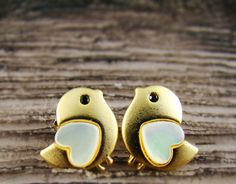Chick Earrings Womens Animal Lovely Heart Bird Stud Earrings Mother-of-Pearl Heart Gold Plated Nickel Free by authfashion on Etsy