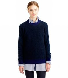 J. CrewBrushed Mohair Boyfriend Sweatshirt($98) in Indigo Navy