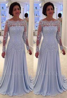 Elegant A-line Lace Long-Sleeve Mother-the-bride Dress Plus Size Prom Dresses, Mob Dresses, Fashion Dresses, Beach Dresses, Peplum Dresses, Dress Tops, Dressy Dresses, Pageant Dresses, Dress Prom