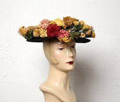 Antique Paper Flower Hat