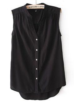 Black Buttons Pleated V-neck Sleeveless Chiffon Blouse