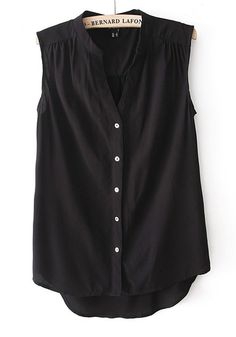 Black Buttons Pleated V-neck Sleeveless Chiffon Blouse $24
