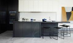 SKD Residence - Mim Design #black cabinets #stools #art