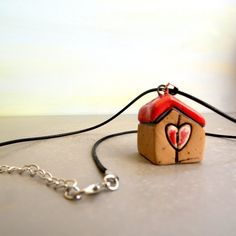House pendant necklace , Ceramic jewelry , Girl jewelry , Israel handmade pottery Fashion art , Fashion jewelry , Red and brown little house by ednapio on Etsy
