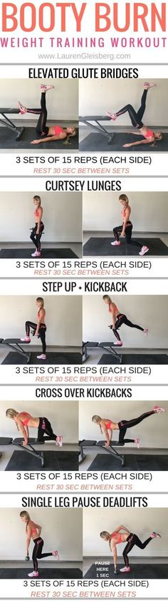 LEGS + BUTT weight training workout   click image for the full workout plan http://www.LaurenGleisberg.com