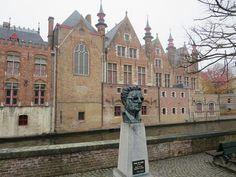 Bust of Frank Marie Grégoire Van Acker by Fish Market, Bruges, Belgium