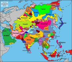 This map shows the various languages across Asia. What if every language-culture possessed its own nation-state Geography Map, Human Geography, China Map, India Map, World Languages, European Languages, Map Globe, Historical Maps, World History