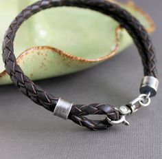 Mens Rustic Leather Silver Bracelet Brown Bolo by LynnToddDesigns