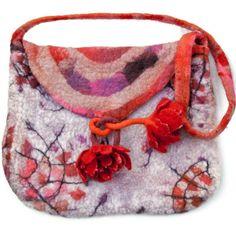 Felted Felt Purse Bag Handbag with Felted Flowers by FrouFrouFelt