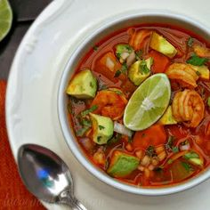 La Cocina de Leslie: Caldo de Camarón (Mexican Shrimp Soup) - this looks nothing like the shrimp soup my mom made growing up but it looks really good! Authentic Mexican Recipes, Mexican Shrimp Recipes, Best Shrimp Recipes, Seafood Recipes, Soup Recipes, Cooking Recipes, Healthy Recipes, Yummy Recipes, Recipies
