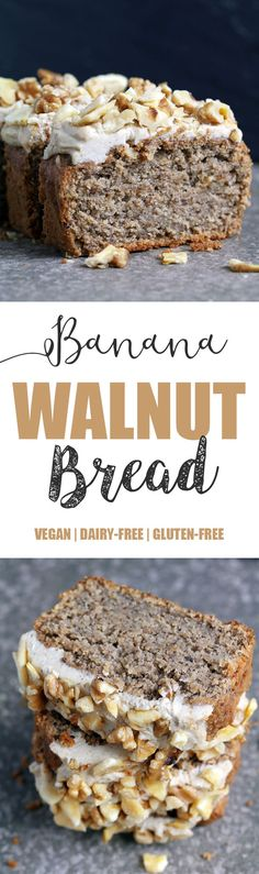 Banana Bread with Creamy Walnut Frosting - Vegan & Gluten-free - UK Health Blog - Nadia's Healthy Kitchen