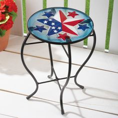 Patriotic Glass Table Outdoor Patio Decoration Patriotic Party, Patriotic Decorations, Collections Etc, Glass Table, Red White Blue, Round Glass, Indoor, Festive, Iron