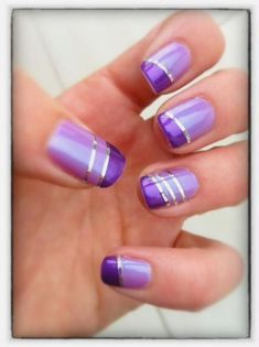 How to easily remove the semi-permanent nail polish? - My Nails Purple And Silver Nails, Purple Nail Art, Purple Nail Designs, Cool Nail Designs, Check Designs, Purple Glitter, Silver Glitter, Glitter Nails, Fingernail Designs