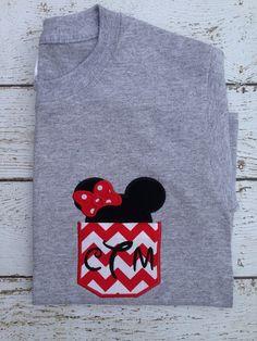 Items similar to Minnie pocket shirt on Etsy Disney 2015, Disney Day, Disney Cruise, Disney Shirts, Disney Outfits, Disney Monogram, Disney Reveal, Disney Applique, Pocket Shirts