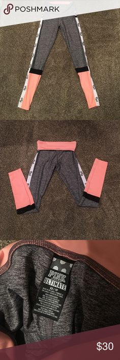 Pink by Victoria Secret Ultimate Yoga Leggings XS NWOT Pink By Victoria's Secret Ultimate Yoga High Waist / Fold Down Full length leggings in Heather gray with peach color block. Leggings have black mesh cutouts on calves and pink logos running down outside of both legs. Leggings are great quality not see thru! PINK Victoria's Secret Pants Leggings