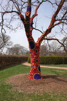 Carol Hummel's Lichen It crochet tree art