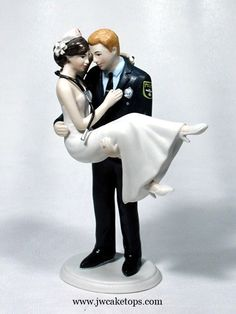 Swept Up In His Arms Police Officer Groom with Nurse Bride Wedding Cake Topper