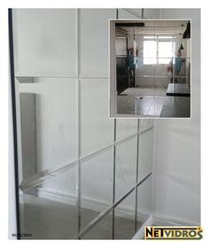 Painel Espelhado com bisotê  #Espelho #bisotê #painel #sala #saladejantar #parede #NeTVidros (41) 3033-2552